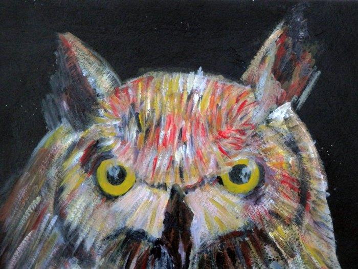 Colourful owl print, whimsical bird art, yellow eyed bird of prey wall decor