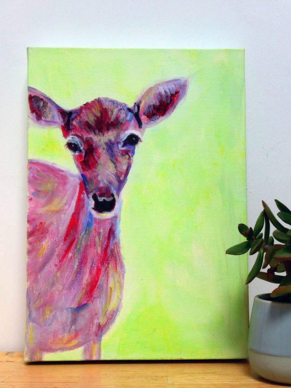 Green deer box canvas
