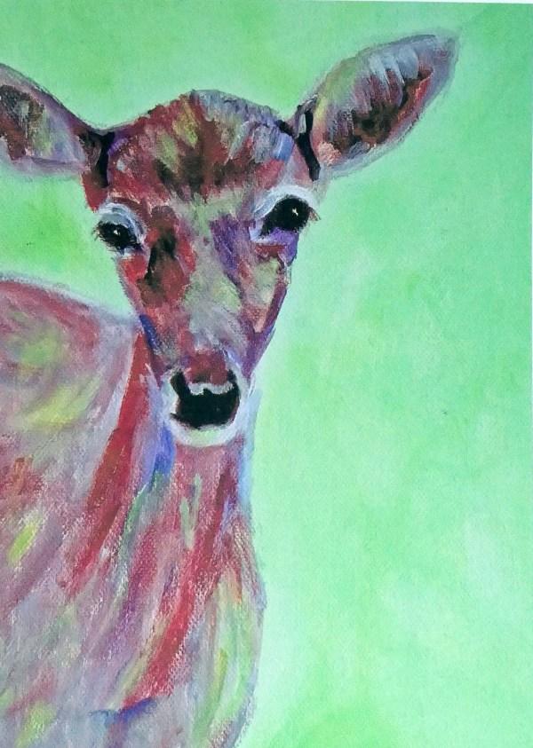 Doe card, green and red blank animal card, deer greeting card