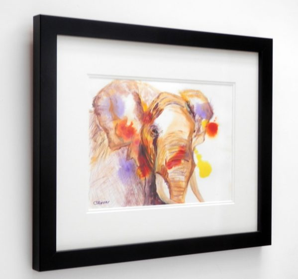 African Elephant painting, elephant art, acrylic wildlife art, framed elephant painting, abstract elephant art