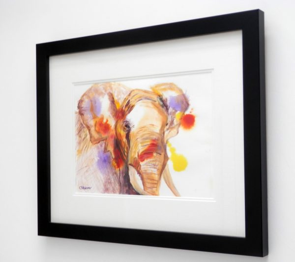 African elephant paitning, multi-colour elephant art, framed elephant wall decor