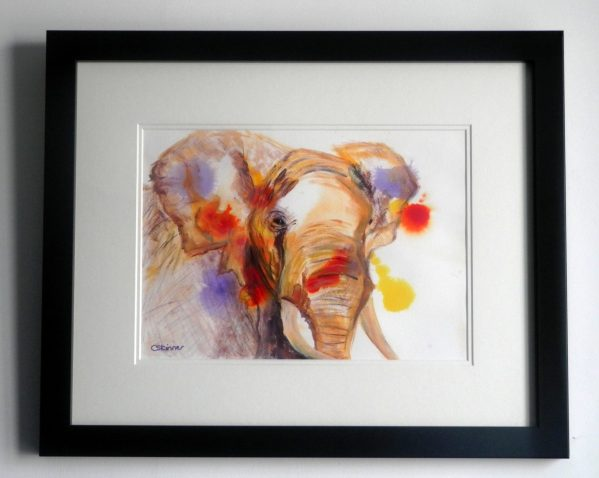 Framed elephant art, elephant painting, abstract wildlife art