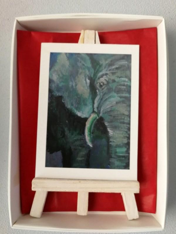 green elephant aceo, green aceo elephant gift, miniature elephant art