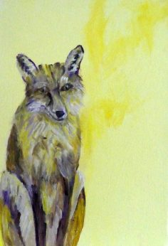 Urban fox art, resting fox painting, yellow British wildlife art