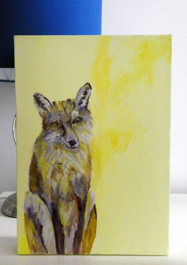 woodland fox art, yellow fox painting, British wildlife art