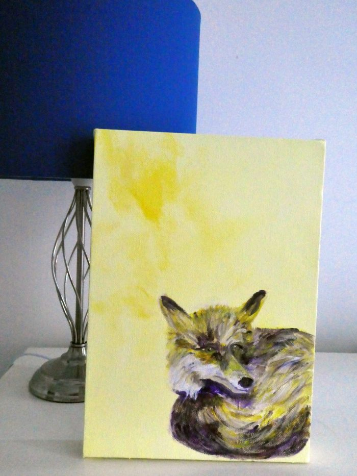 yellow fox painting, fox illustration, resting fox, yellow fox painting