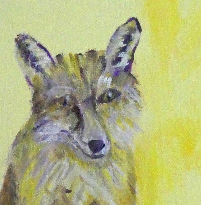 acrylic fox painting, yellow fox art, woodland fox painting