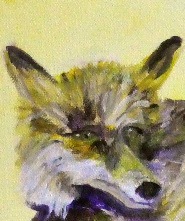 yellow fox painting, yellow fox print, British wildlife art, woodland animal