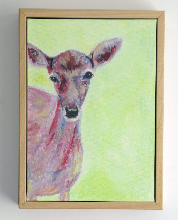 Framed red doe painting