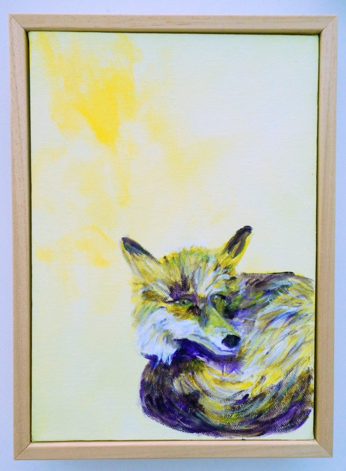 Framed yellow fox wall art