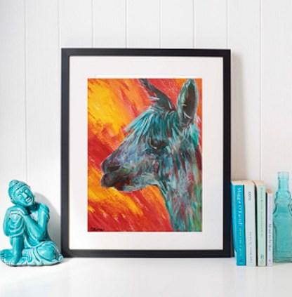 Funky alpaca modern art print, colourful art, cheerful artwork, teal art, red yellow art