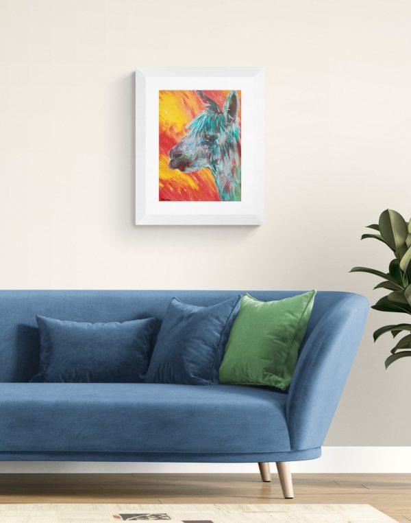 Colourufl alpaca painting in white frame
