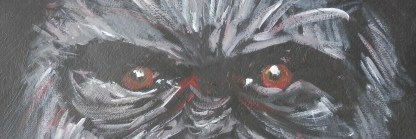 gorilla art print, gorilla giclee print, ape art, grey black red decor, red eyes