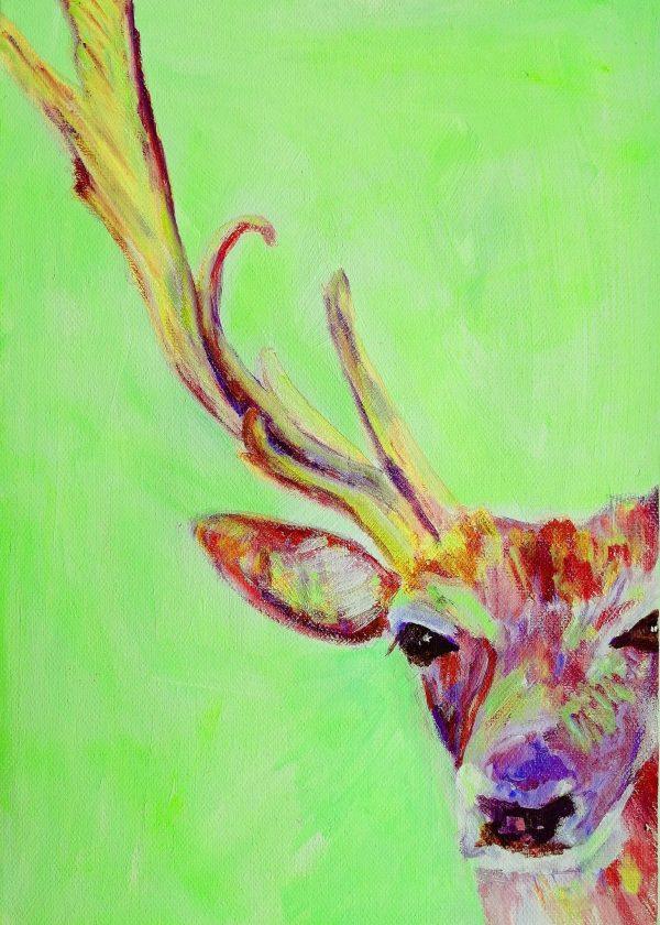 Red Deer stag painting