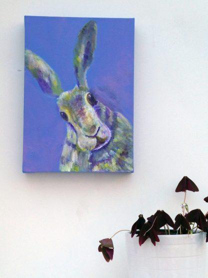 purple hare painting, rabbit artwork, British wildlife, animal art for girl's bedroom, purple interior design