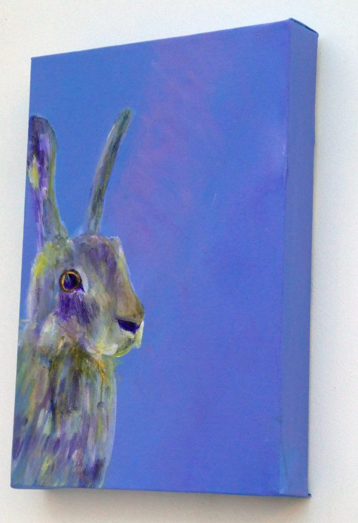 Purple hare painting, purple rabbit art, rabbit wall art, British wildlife, purple home decor