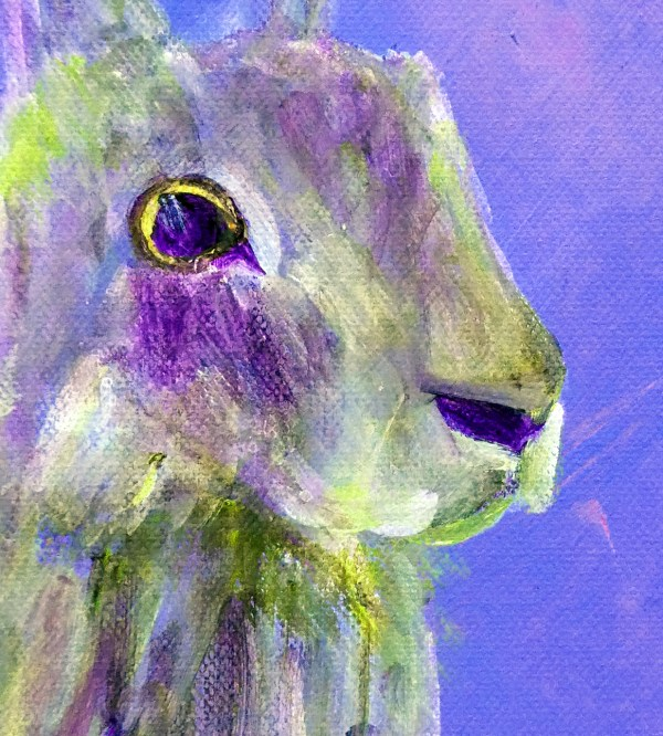 Close up of purple hare painting
