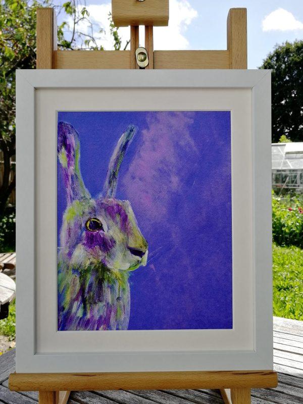 Purple rabbit art print for your bedroom