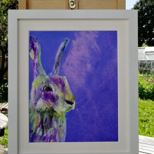 Purple rabbit art print for your bedroom