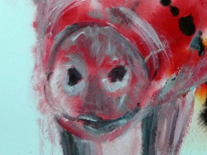 Red pif art print, pig giclee print, farmyard aninal art, farm animal print