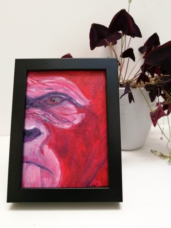 Red gorilla painting, red ape art, African wildlife wall decor, framed ape art, acrylic canvas animal painting