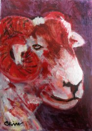 Red sheep decor, red sheep painting, farm animal art, farmyard decor