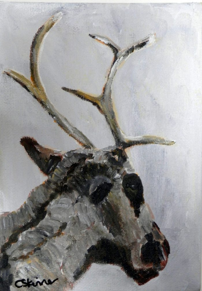 Reindeer painting, Christmas art, reindeer art, grey and brown art, acrylic reindeer canvas