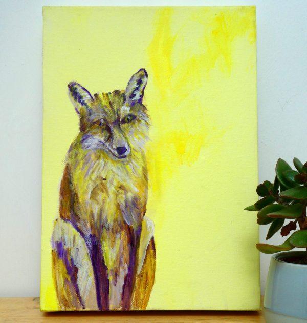 Yellow fox acrylic art