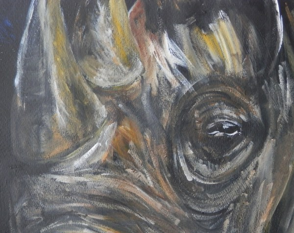 black and yellow rhino painting, rhino print, wildlife art, yellow home decor