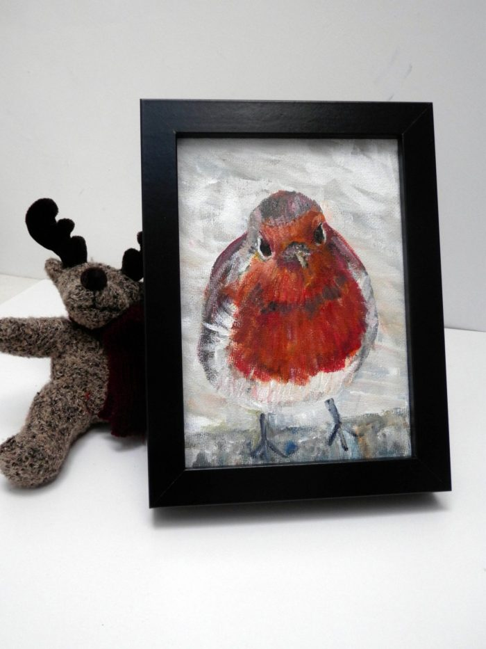 Red robin painting, robin artwork, Christmas wall art, snow scene painting, red home decor