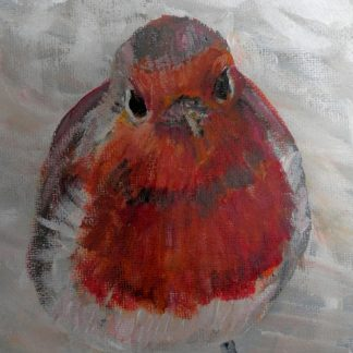 Red robin wall decor, red robin painting, wild bird wall decor, red wildlife wall decor,
