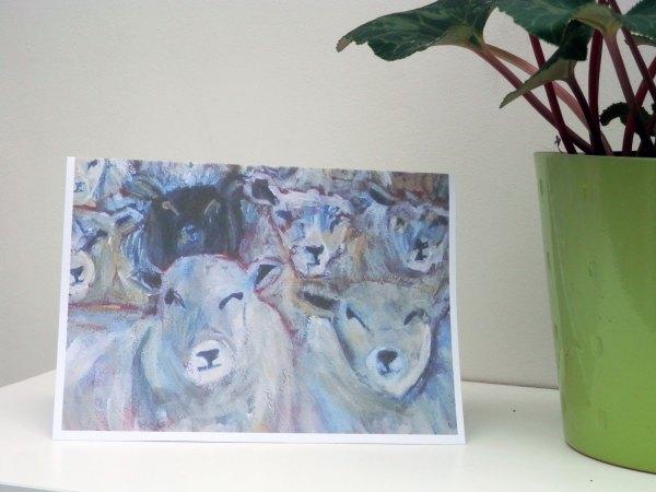 flock of sheep card, black sheep, counting sheep