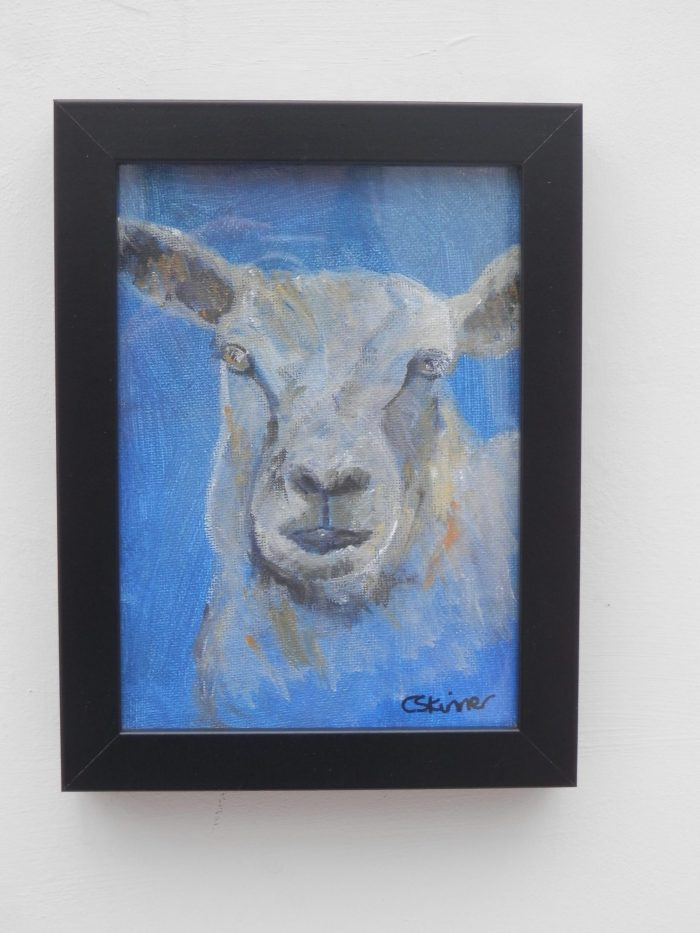 Blue sheep painting, farm animal art gift