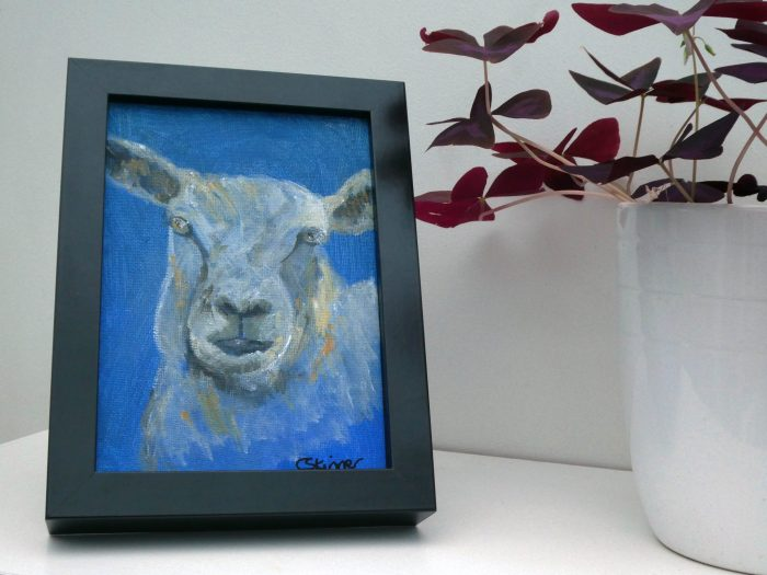 Blue sheep canvas painting, farm animal art, blue artwork