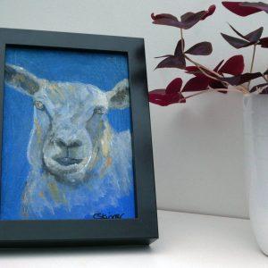 Blue sheep canvas painting, farm animal art, blue artwork
