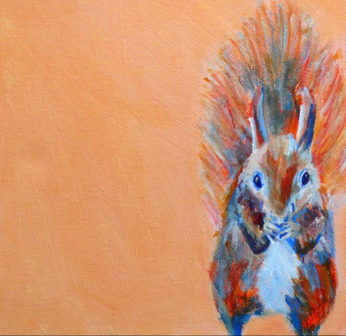 red squirrel art print, cute squirrel art, orange home decor, nursery art, animal art for girls