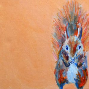 red squirrel art print, cute squirrel art, orange home decor, nursery art, animal art for girls