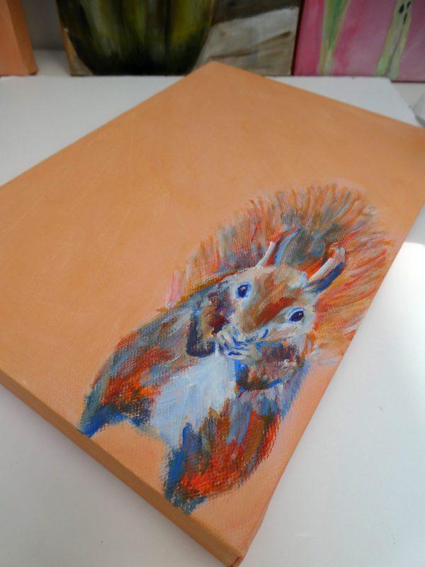 Red squirrel painting, orange animal art, cute squirrel art