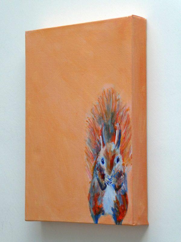 Red squirrel art, cute wildlife painting, orange animal wall art
