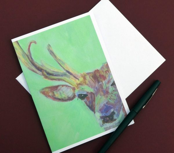 Green and red stag stag, red deer greetings card, blank animal card
