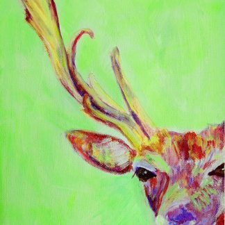 Stag art, green painting, Britsh wildlife home decor