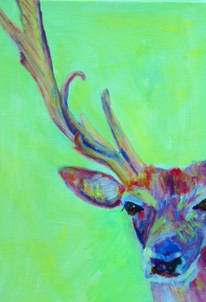 Green and red stag painting, British wildlife art, box canvas wildlife painting, green home decor