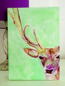 Stag box canvas painting in living room