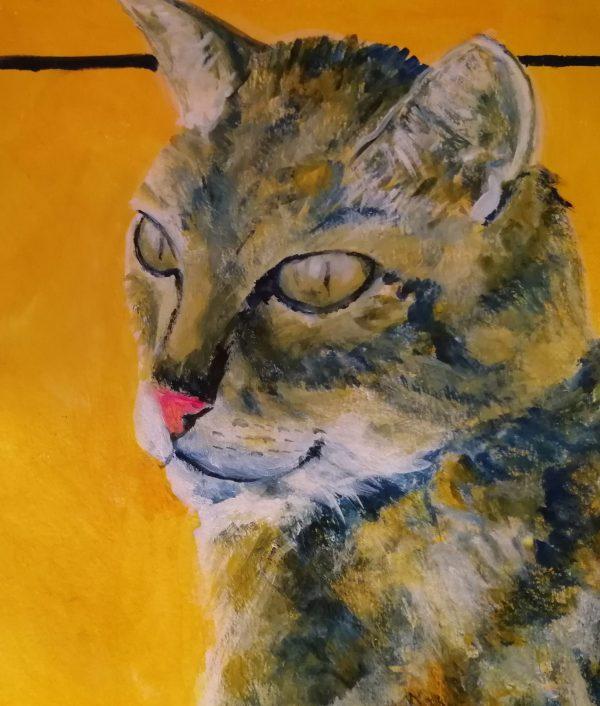tabby cat art print, golden orange background, cat home decor, single tabby cat coaster, set of 4 cat coasters