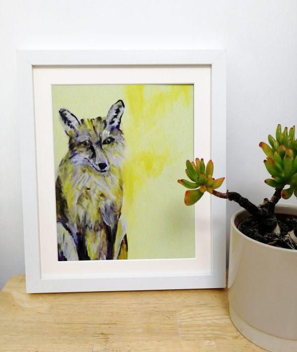 Yellow fox art print by Caroline Skinner Art