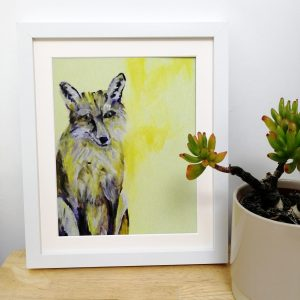 Yellow fox art print by Caroline Skinner Art