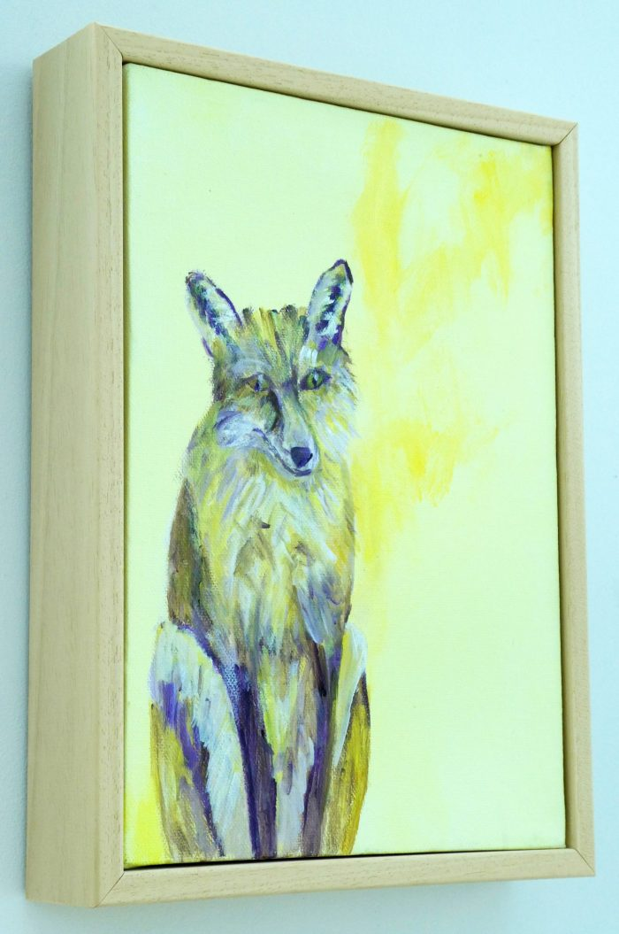 Yellow fox painting in light wood frame