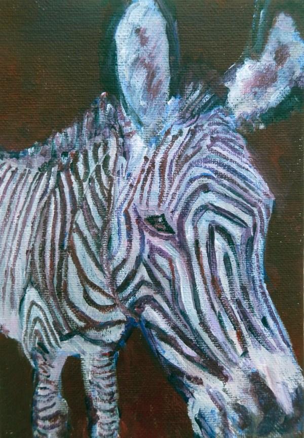 small zebra painting, purple zebra art, zebra canvas, striped wildlife painting