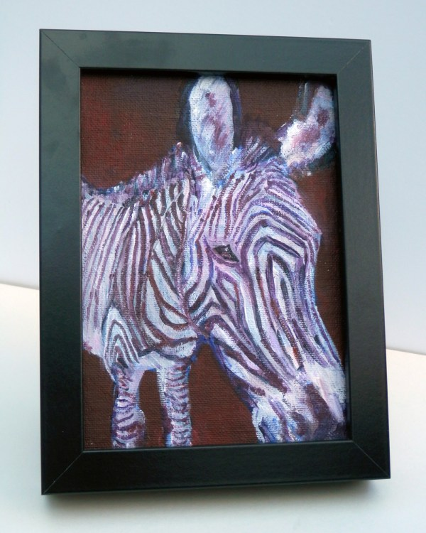 small zebra painting, purple wildlife art, framed zebra painting