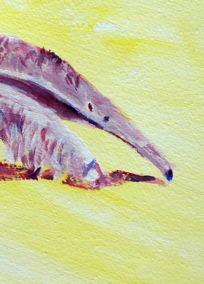 Giant anteater print, purple anteater art, yellow wildlife print, South American wildlife wall decor